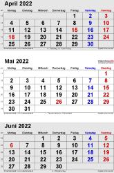 3-Monats-Kalender April/Mai/Juni 2022 im Hochformat