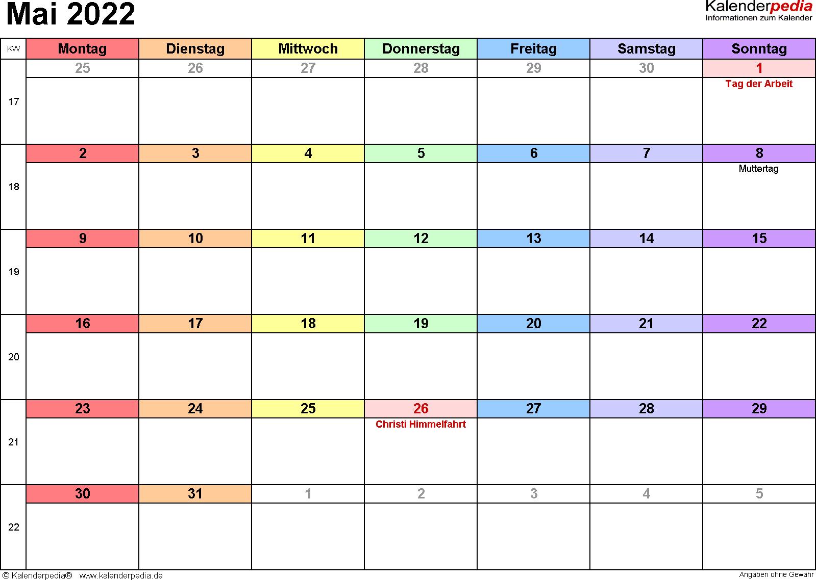 Kalender Mai 2022 (Querformat) als Excel-Vorlage