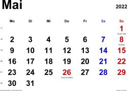 Kalender Mai 2022 im Querformat, klassisch
