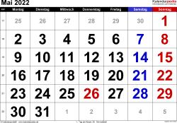 Kalender Mai 2022 im Querformat, grosse Ziffern
