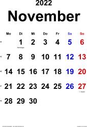 Kalender November 2022 im Hochformat, klassisch