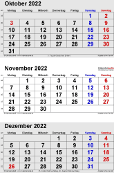 3-Monats-Kalender October/November/December 2022 im Hochformat