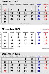 3-Monats-Kalender Oktober/November/Dezember 2022 im Hochformat