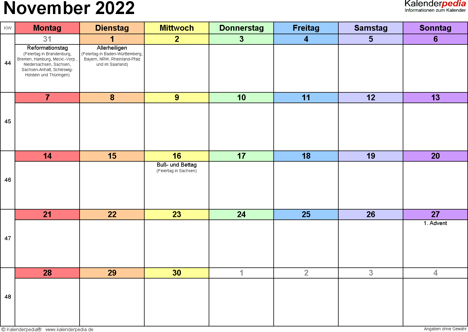 Kalender November 2022 (Querformat) als Word-Vorlage