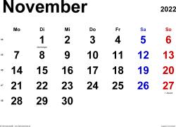 Kalender November 2022 im Querformat, klassisch