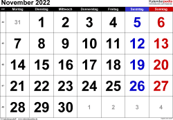 Kalender November 2022 im Querformat, grosse Ziffern