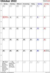 Kalender October 2022 im Hochformat, kleine Ziffern