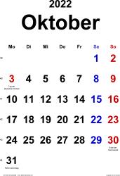 Kalender October 2022 im Hochformat, klassisch