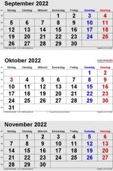 3-Monats-Kalender September/Oktober/November 2022 im Hochformat