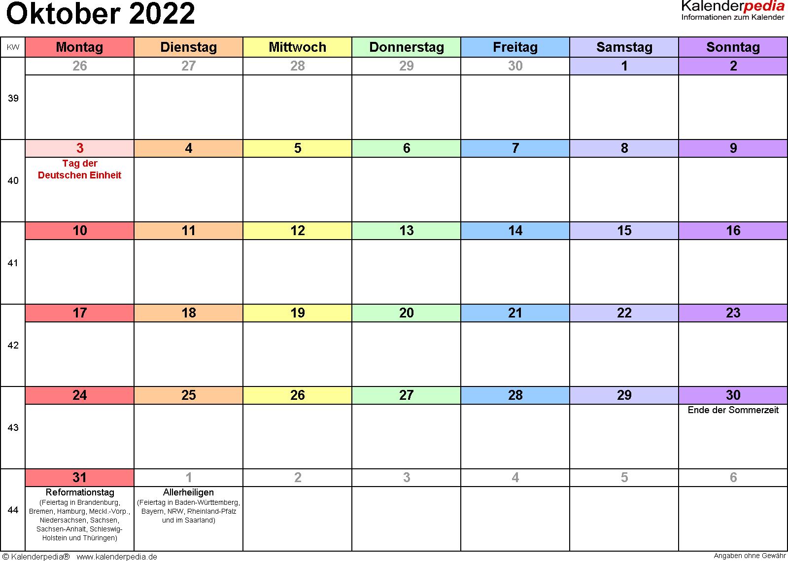 Kalender Oktober 2022 (Querformat) als PDF-Vorlage