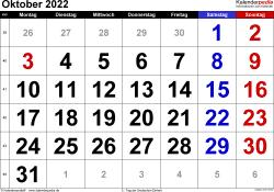 Kalender Oktober 2022 im Querformat, grosse Ziffern