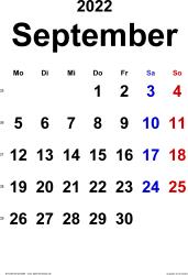 Kalender September 2022 im Hochformat, klassisch