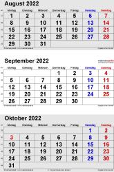 3-Monats-Kalender August/September/October 2022 im Hochformat