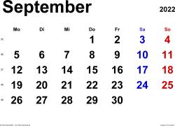 Kalender September 2022 im Querformat, klassisch