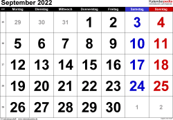 Kalender September 2022 im Querformat, grosse Ziffern