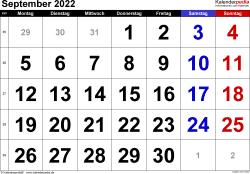 Kalender September 2022 im Querformat, grosse Ziffern