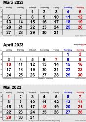3-Monats-Kalender März/April/Mai 2023 im Hochformat