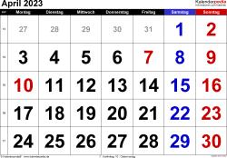 Kalender April 2023 im Querformat, grosse Ziffern