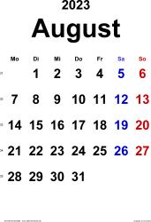 Kalender August 2023 im Hochformat, klassisch