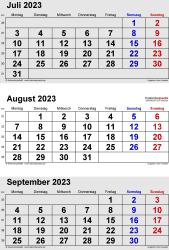 3-Monats-Kalender Juli/August/September 2023 im Hochformat
