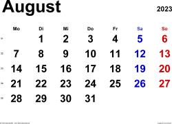 Kalender August 2023 im Querformat, klassisch