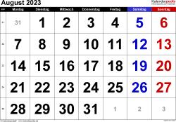 Kalender August 2023 im Querformat, grosse Ziffern