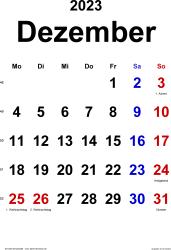 Kalender December 2023 im Hochformat, klassisch
