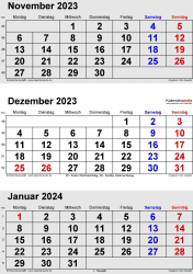 3-Monats-Kalender November/December 2023& Januar 2024 im Hochformat