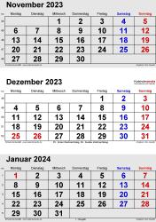 3-Monats-Kalender November/Dezember 2023& Januar 2024 im Hochformat