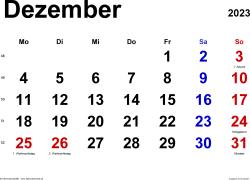 Kalender December 2023 im Querformat, klassisch