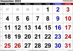 Kalender December 2023 im Querformat, grosse Ziffern
