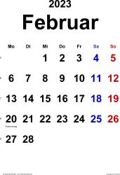 Kalender Februar 2023 im Hochformat, klassisch