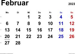 Kalender Februar 2023 im Querformat, klassisch