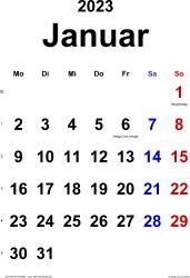 Kalender Januar 2023 im Hochformat, klassisch