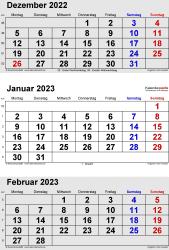 3-Monats-Kalender Dezember 2022/ Januar/Februar2023 im Hochformat