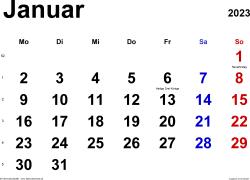 Kalender Januar 2023 im Querformat, klassisch