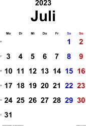 Kalender Juli 2023 im Hochformat, klassisch