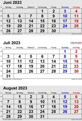 3-Monats-Kalender Juni/Juli/August 2023 im Hochformat