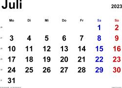 Kalender Juli 2023 im Querformat, klassisch