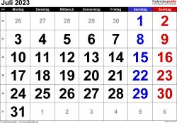 Kalender Juli 2023 im Querformat, grosse Ziffern