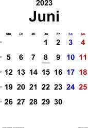 Kalender Juni 2023 im Hochformat, klassisch