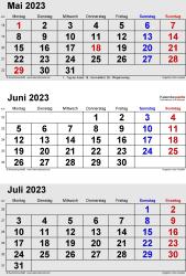 3-Monats-Kalender Mai/Juni/Juli 2023 im Hochformat