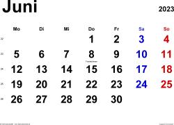Kalender Juni 2023 im Querformat, klassisch
