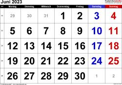 Kalender Juni 2023 im Querformat, grosse Ziffern