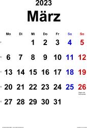 Kalender März 2023 im Hochformat, klassisch