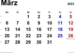 Kalender März 2023 im Querformat, klassisch