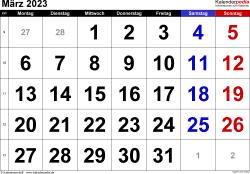 Kalender März 2023 im Querformat, grosse Ziffern