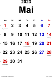 Kalender Mai 2023 im Hochformat, klassisch