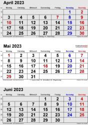 3-Monats-Kalender April/Mai/Juni 2023 im Hochformat