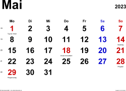 Kalender Mai 2023 im Querformat, klassisch